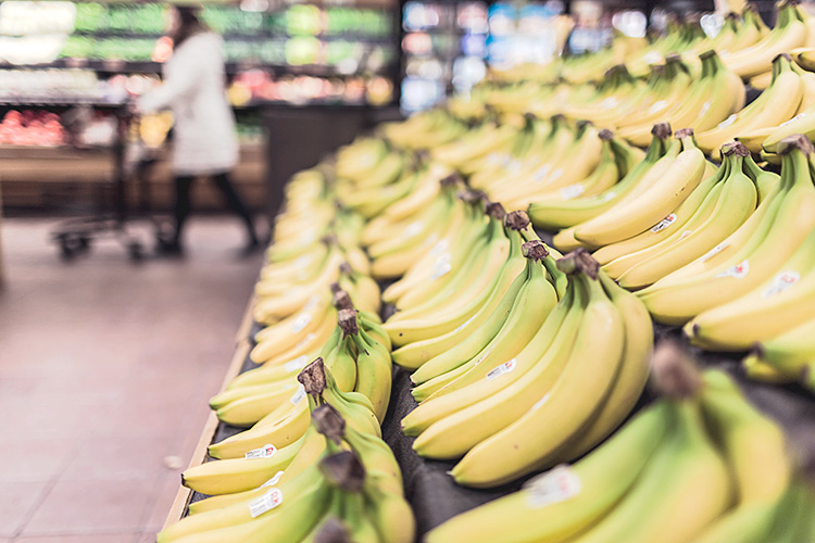 Bananas in supermarket