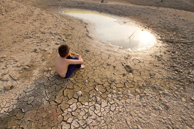 Climate refugee in dry land